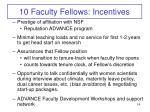10 faculty fellows incentives