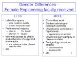 gender differences female engineering faculty received