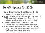 benefit update for 20091