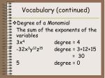 vocabulary continued