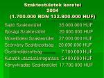 szaktest letek keretei 2004 1 700 000 ron 132 800 000 huf