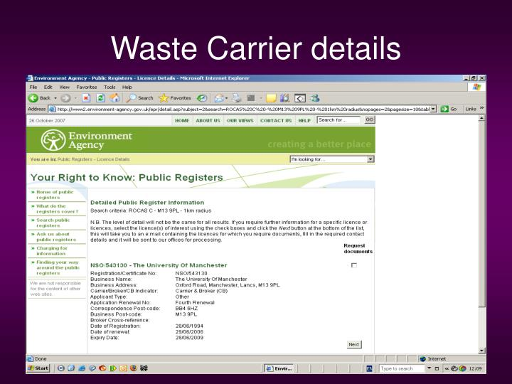 waste carrier licence check