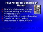 psychological benefits of humor