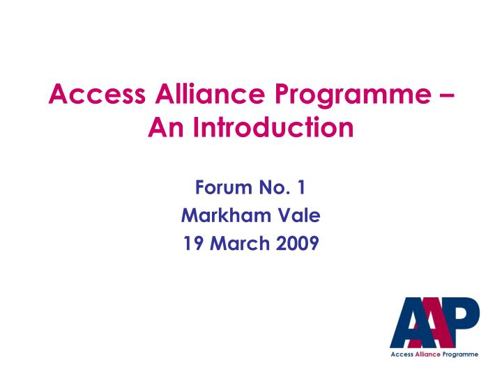 access alliance programme an introduction n.