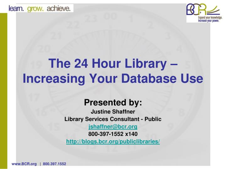 the 24 hour library increasing your database use n.
