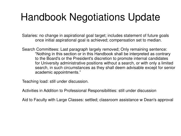 handbook negotiations update n.