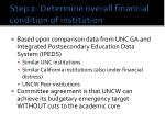 step 2 determine overall financial condition of institution