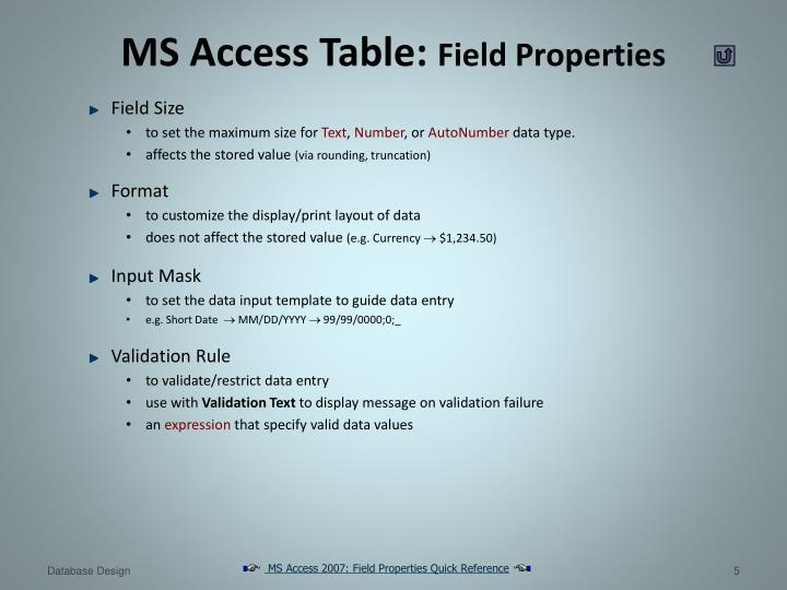 MS Access Table: