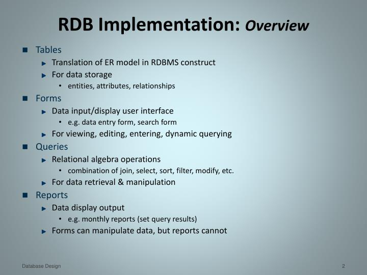Rdb implementation overview