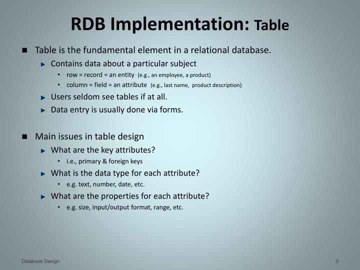 Rdb implementation table
