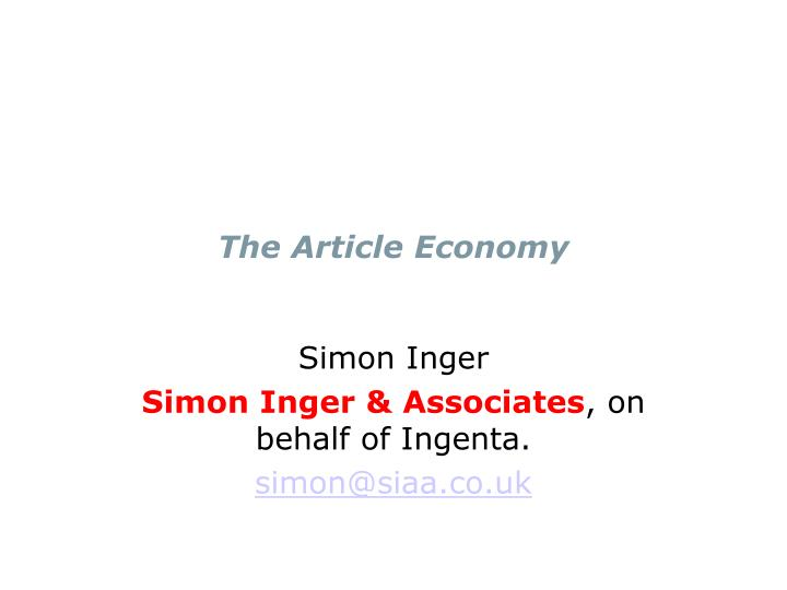 the article economy n.
