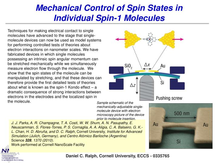mechanical control of spin states in individual spin 1 molecules n.