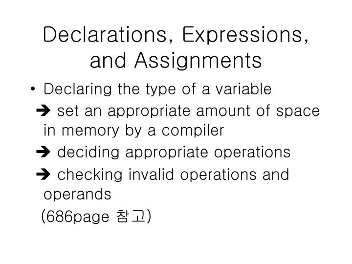 Declarations expressions and assignments