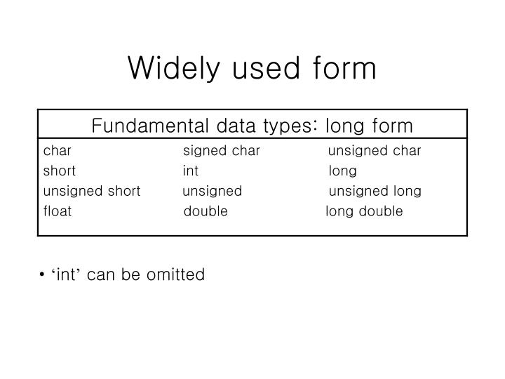 Widely used form