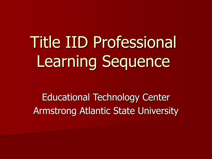 title iid professional learning sequence n.