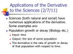 applications of the derivative to the sciences 2 7 11