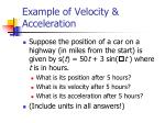 example of velocity acceleration