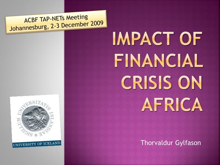 impact of financial crisis on africa n.