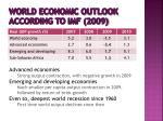 world economic outlook according to imf 2009