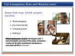 list assumptions risks and obstacles cont