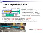 esa experimental tests