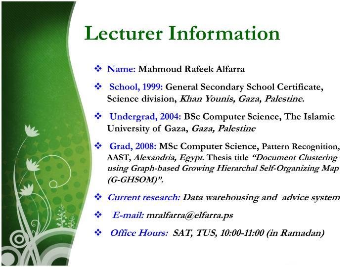 Lecturer information