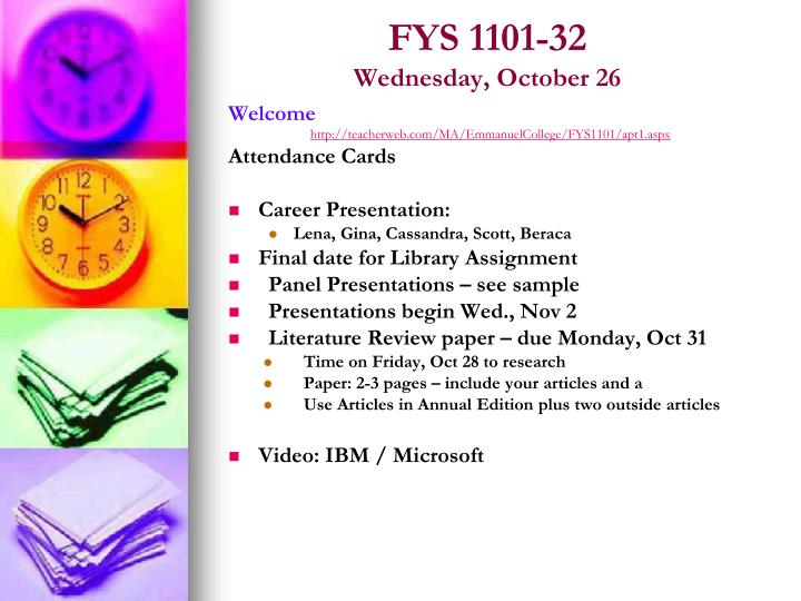 fys 1101 32 wednesday october 26 n.