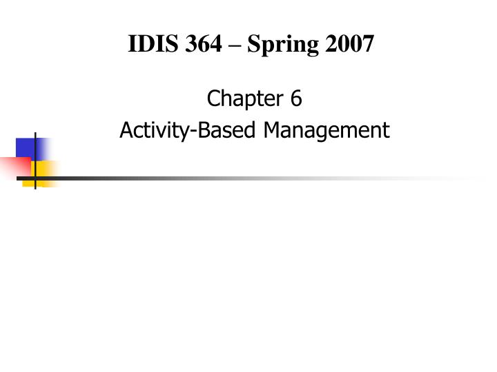 chapter 6 activity based management n.
