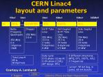 cern linac4 layout and parameters