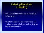 indexing decisions subfield g