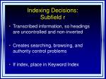 indexing decisions subfield r