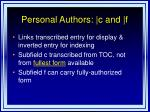 personal authors c and f