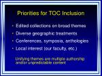 priorities for toc inclusion
