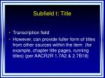 subfield t title
