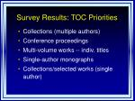 survey results toc priorities