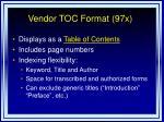 vendor toc format 97x