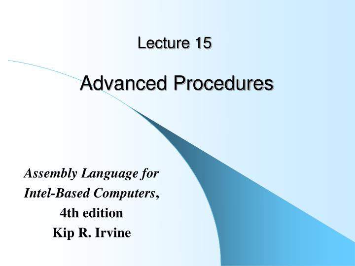 lecture 15 advanced procedures n.
