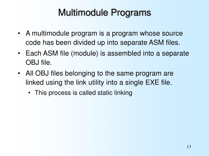 Multimodule Programs
