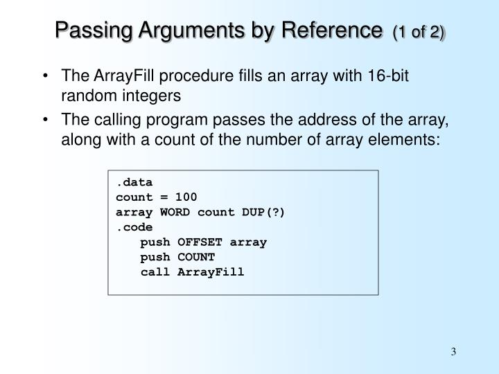 Passing arguments by reference 1 of 2