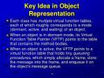 key idea in object representation