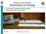 modules super modules transmission de l horloge