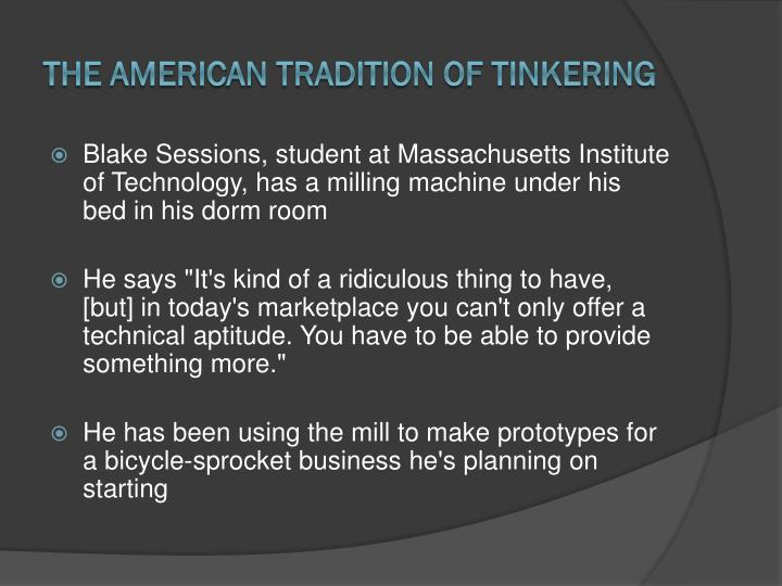 The american tradition of tinkering1