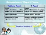 comparison of report format