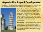 aspects that impact development