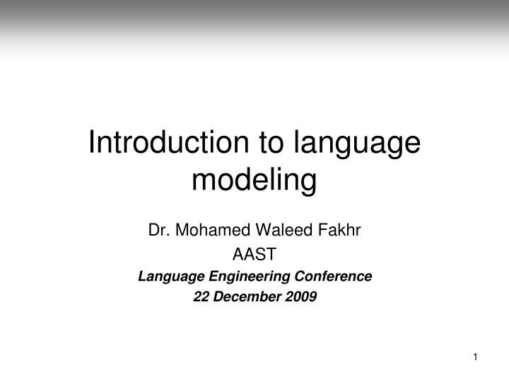 introduction to language modeling n.