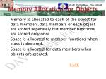memory allocation for objects