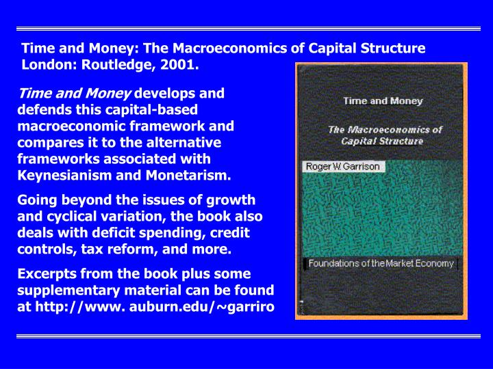 Time and Money: The Macroeconomics of Capital Structure London: Routledge, 2001.