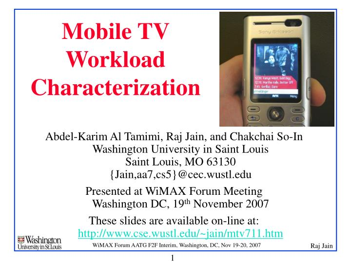 mobile tv workload characterization n.