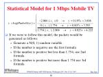 statistical model for 1 mbps mobile tv