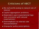 criticisms of abct